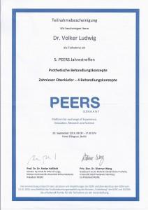 Teilnahmebescheinigung - Dr. Volker Ludwig 5. PEERS Jahrestreffen_2014