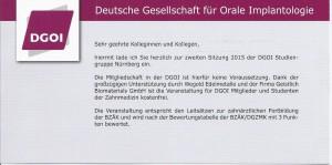 2. Sitzung der DGOI Studiengruppe Nürnberg mit Referent Dr. Dr. Nils Weyer_Einladung