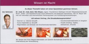 2. Sitzung der DGOI Studiengruppe Nürnberg mit Referent Dr. Dr. Nils Weyer_Sinusbodenaugmentation