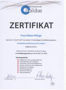 Lachgas Urkunde_Dr. Aileen Klinge