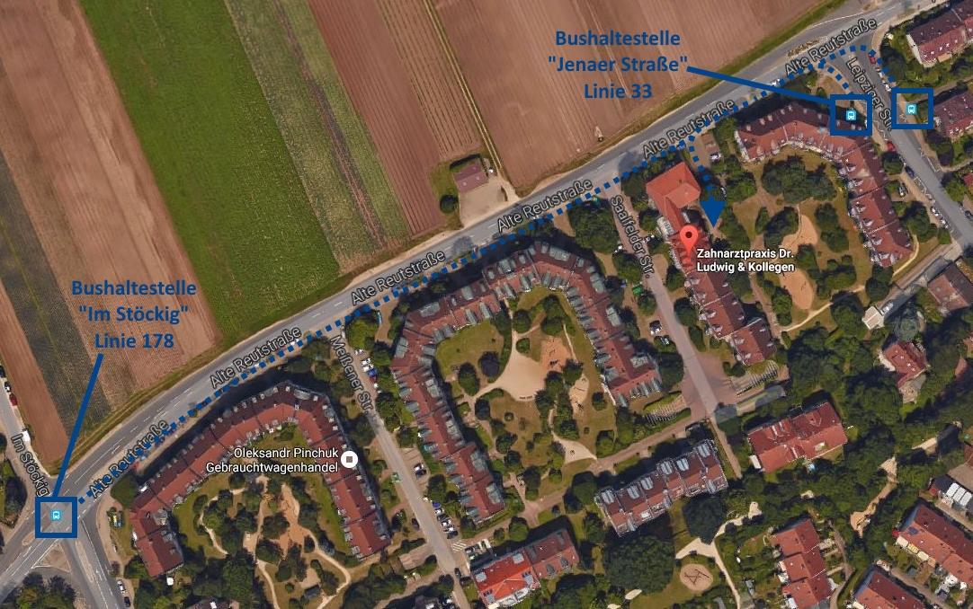 Anfahrt mit dem Bus | Zahnarztpraxis Dr. Ludwig und Kollegen | Quelle: Google Maps