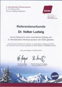 Dr. Volker Ludwig_Referentenurkunde_Zürs 2014
