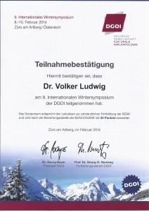 Dr. Volker Ludwig_Teilnahmebestätigung_Zürs 2014
