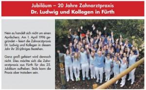 Artikel zum 20. Praxisjubiläum der Zahnarztpraxis Dr. Ludwig und Kollegen | Quelle: Blauer Kurier_Verlag Hopfner