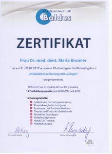 Lachgas Urkunde_Dr. Maria Brunner