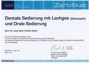 Lachgas Zertifikat | Zahnarzt Fürth – Quelle: Zahnarztpraxis Dr. Ludwig und Kollegen/Zertifikat Dr. Nicolas Naser