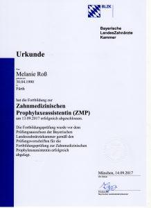 Quelle: Urkunde Melanie Roß/Zahnarztpraxis Dr. Ludwig und Kollegen