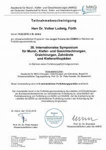 Quelle: Zahanrztpraxis Dr. Ludwig und Kollegen/Urkunde