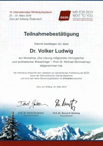 Quelle: Zahnarztpraxis Dr. Ludwig und Kollegen/Zertifikat Dr. Ludwig