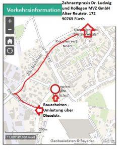 Quelle: Stadt Fürth_Zahnarztpraxis Dr. Ludwig und Kollegen/Fahrtweg