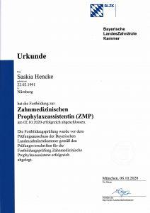 Quelle: Zahnarztpraxis Dr. Ludwig und Kollegen/Urkunde_Hencke